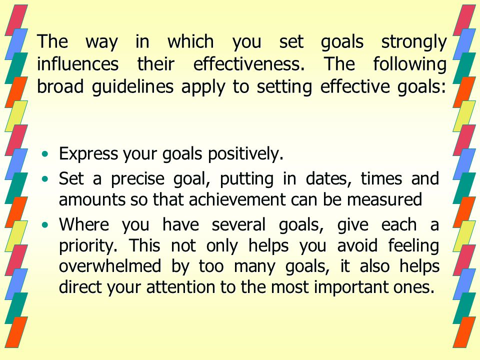 The way in which you set goals strongly influences their effectiveness.