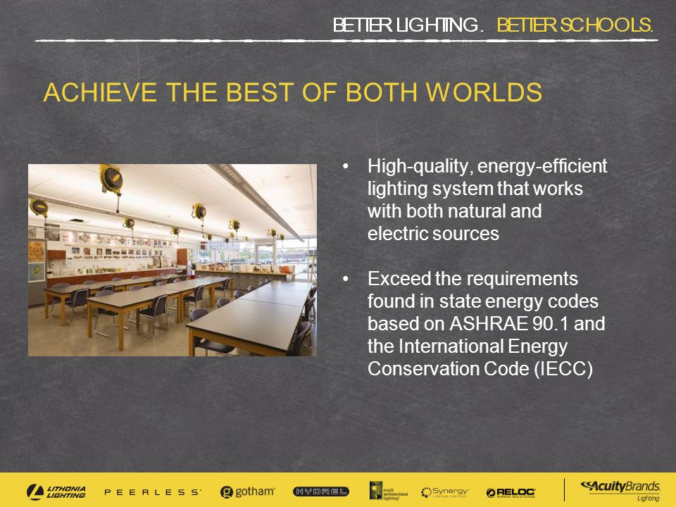 ACHIEVE THE BEST OF BOTH WORLDS High-quality, energy-efficient lighting system that works with both natural and electric sources Exceed the requirements found in state energy codes based on ASHRAE 90.1 and the International Energy Conservation Code (IECC)