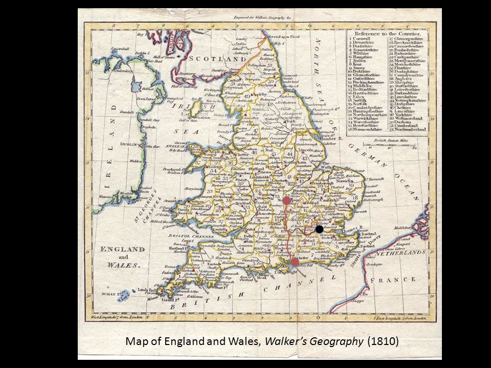 Map of England and Wales, Walker's Geography (1810)