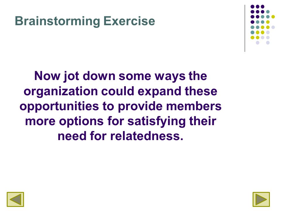 Now jot down some ways the organization could expand these opportunities to provide members more options for satisfying their need for relatedness. Br