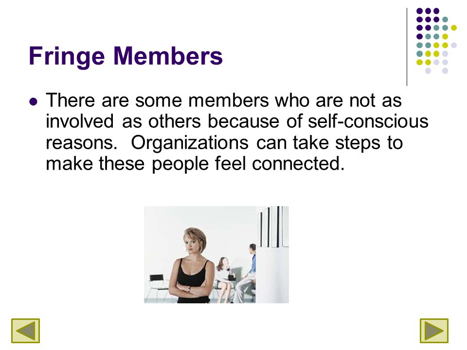 Fringe Members There are some members who are not as involved as others because of self-conscious reasons.