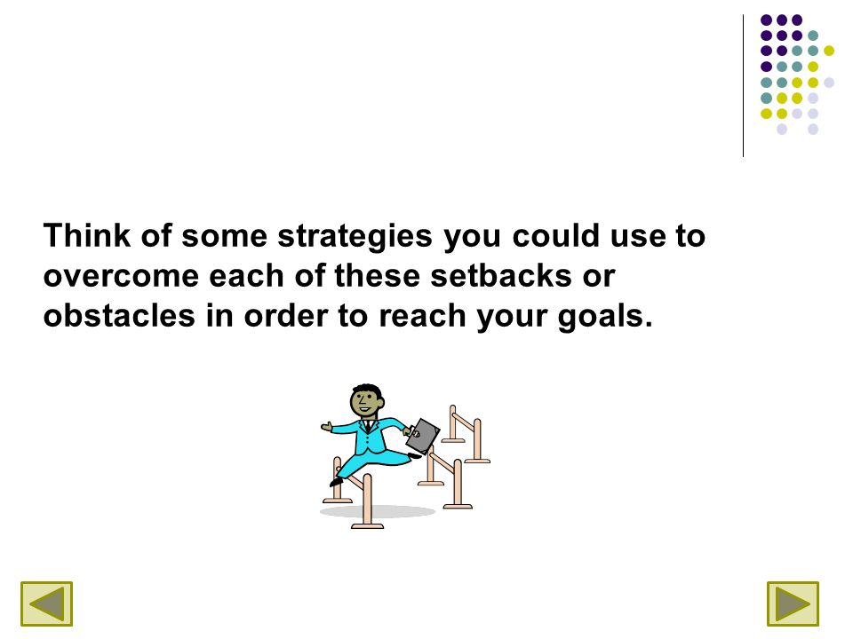 Think of some strategies you could use to overcome each of these setbacks or obstacles in order to reach your goals.