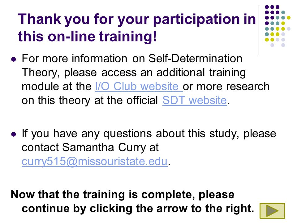 Thank you for your participation in this on-line training.