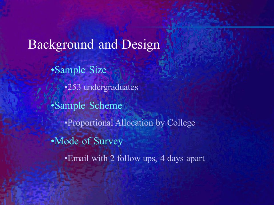 Background and Design Sample Size 253 undergraduates Sample Scheme Proportional Allocation by College Mode of Survey Email with 2 follow ups, 4 days apart