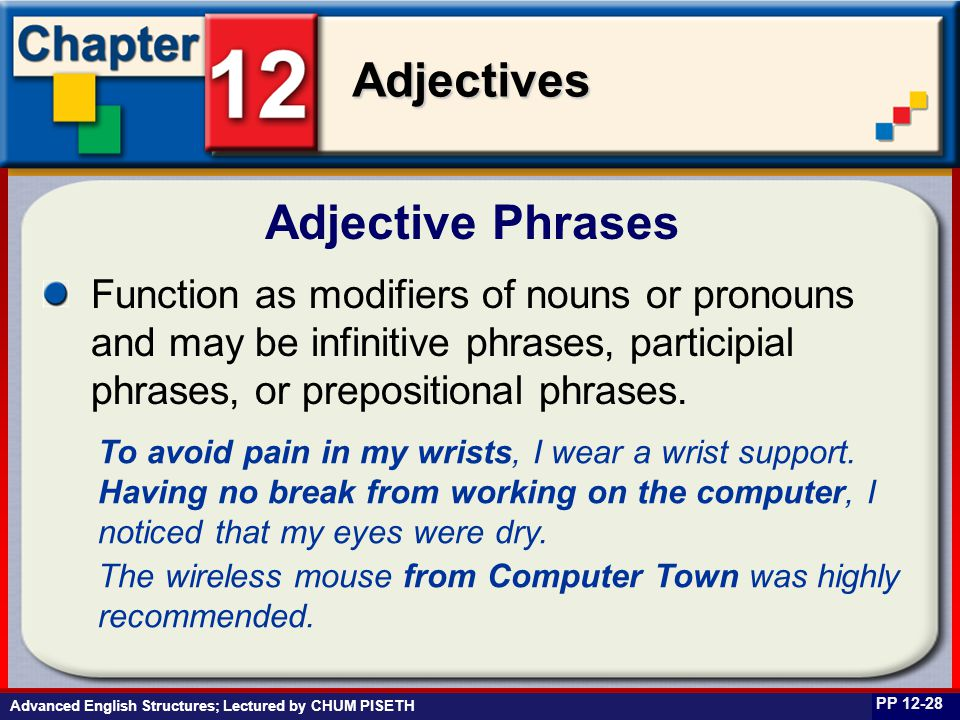 Business English at Work Adjectives Advanced English Structures; Lectured by CHUM PISETH Adjective Phrases PP 12-28 Function as modifiers of nouns or
