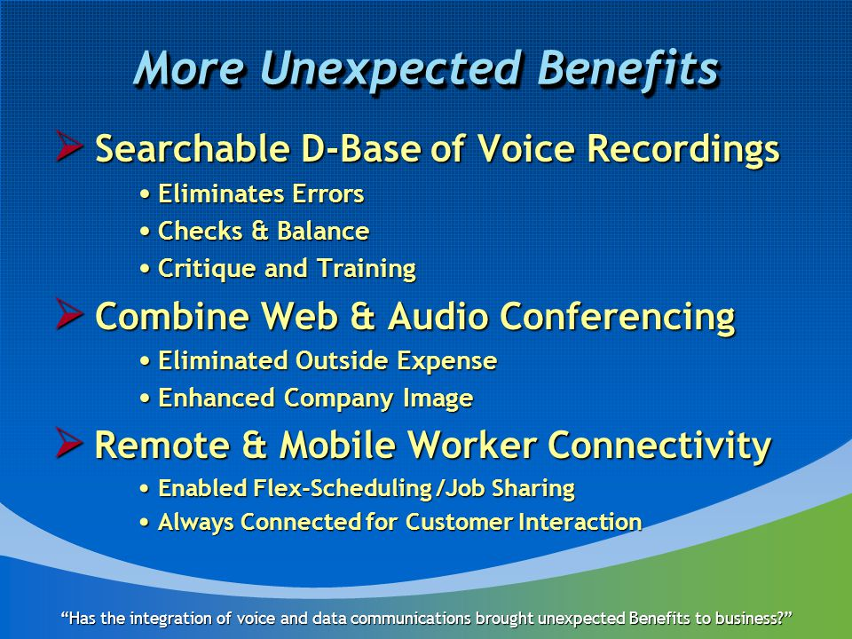 More Unexpected Benefits  Searchable D-Base of Voice Recordings Eliminates Errors Eliminates Errors Checks & Balance Checks & Balance Critique and Training Critique and Training  Combine Web & Audio Conferencing Eliminated Outside Expense Eliminated Outside Expense Enhanced Company Image Enhanced Company Image  Remote & Mobile Worker Connectivity Enabled Flex-Scheduling /Job Sharing Enabled Flex-Scheduling /Job Sharing Always Connected for Customer Interaction Always Connected for Customer Interaction Has the integration of voice and data communications brought unexpected Benefits to business