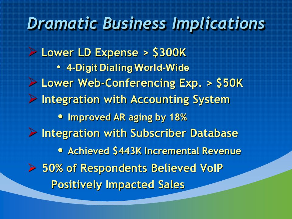 Dramatic Business Implications  Lower LD Expense > $300K 4-Digit Dialing World-Wide 4-Digit Dialing World-Wide  Lower Web-Conferencing Exp.