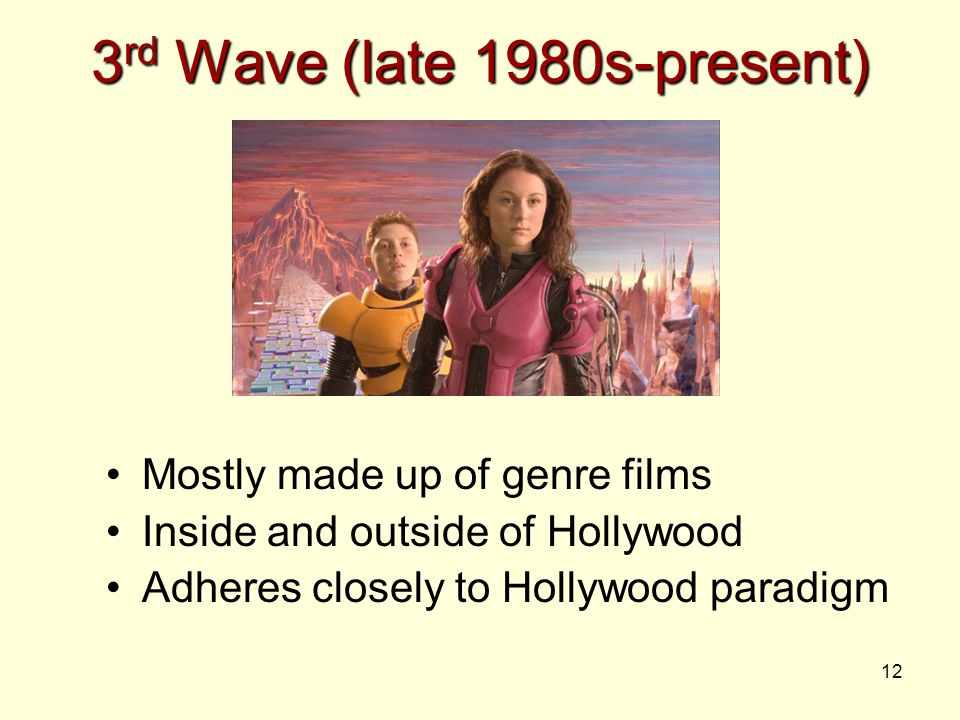12 3 rd Wave (late 1980s-present) Mostly made up of genre films Inside and outside of Hollywood Adheres closely to Hollywood paradigm