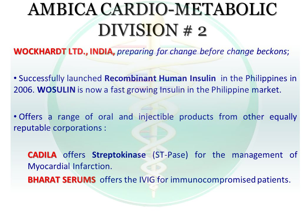 AMBICA CARDIO-METABOLIC DIVISION # 2 WOCKHARDT LTD., INDIA, WOCKHARDT LTD., INDIA, preparing for change before change beckons; Successfully launched R