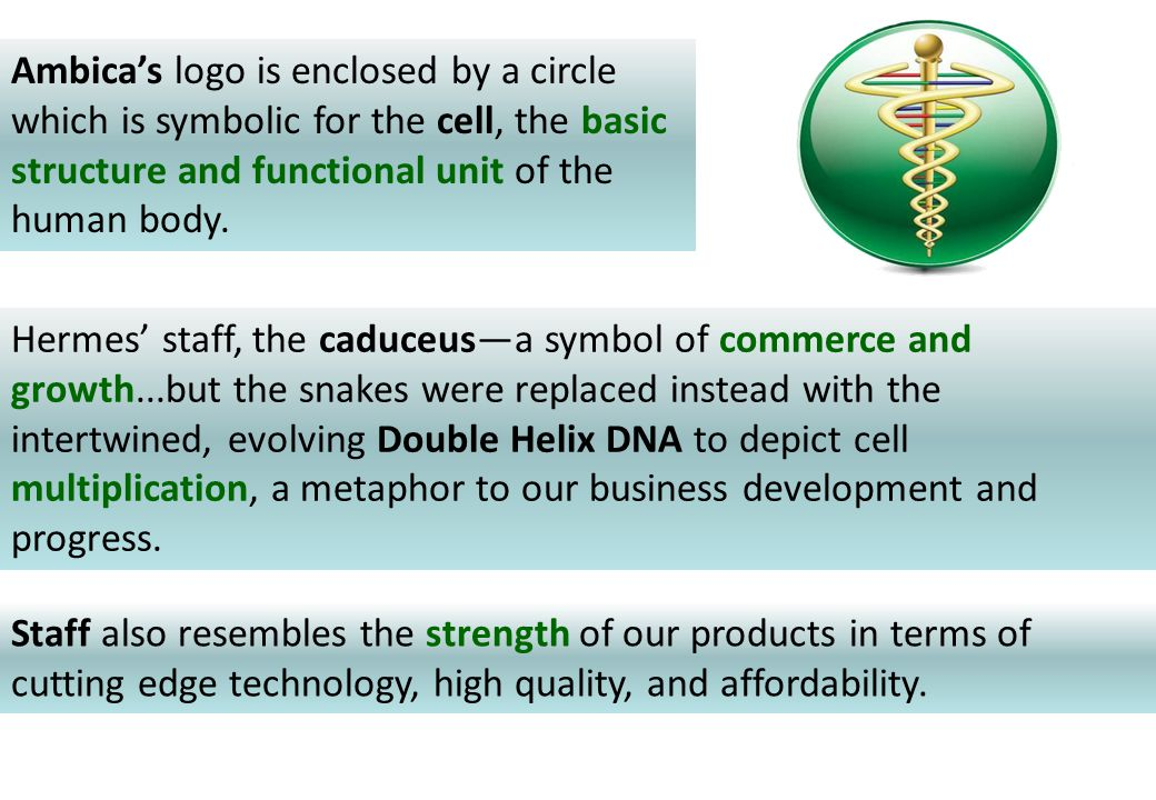 Ambica's logo is enclosed by a circle which is symbolic for the cell, the basic structure and functional unit of the human body. Hermes' staff, the ca