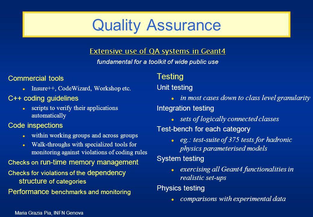 Maria Grazia Pia, INFN Genova Quality Assurance Commercial tools l Insure++, CodeWizard, Workshop etc.