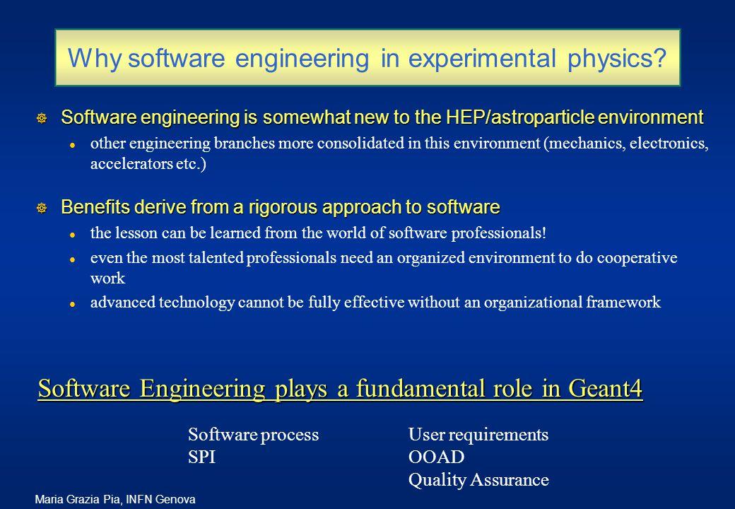 Maria Grazia Pia, INFN Genova Why software engineering in experimental physics.
