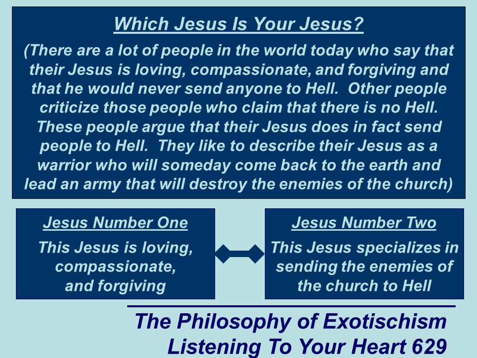 The Philosophy of Exotischism Listening To Your Heart 629 Which Jesus Is Your Jesus? (There are a lot of people in the world today who say that their