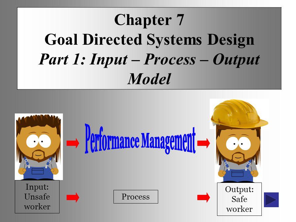 Chapter 7 Goal Directed Systems Design Part 1: Input – Process – Output Model Input: Unsafe worker Process Output: Safe worker