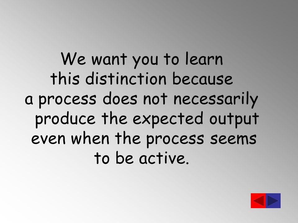 We want you to learn this distinction because a process does not necessarily produce the expected output even when the process seems to be active.