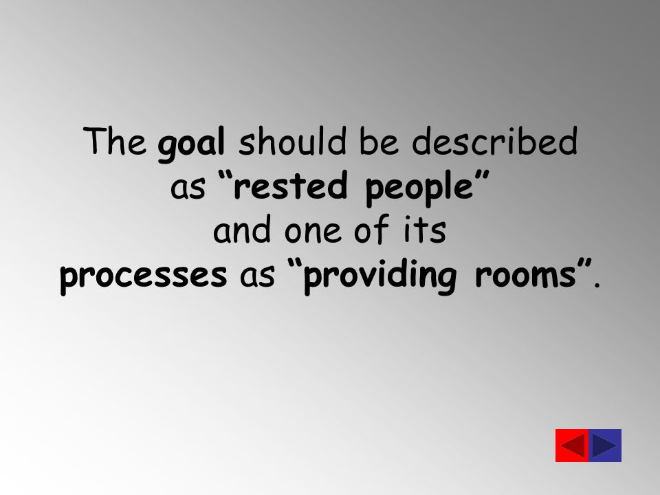 The goal should be described as rested people and one of its processes as providing rooms .