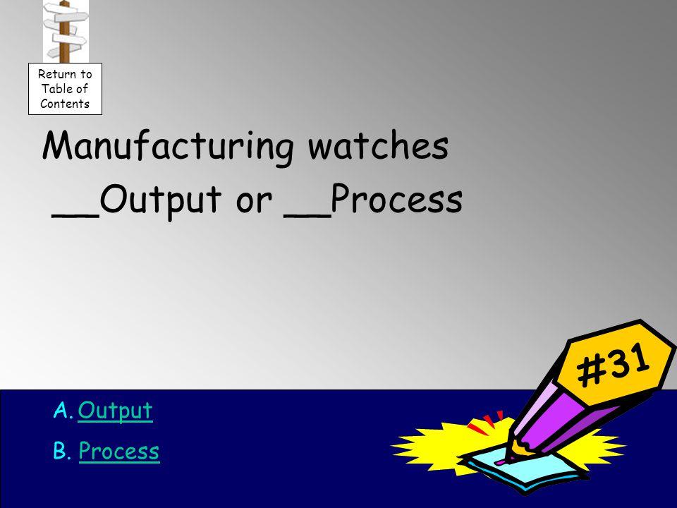 Manufacturing watches __Output or __Process A.OutputOutput B.