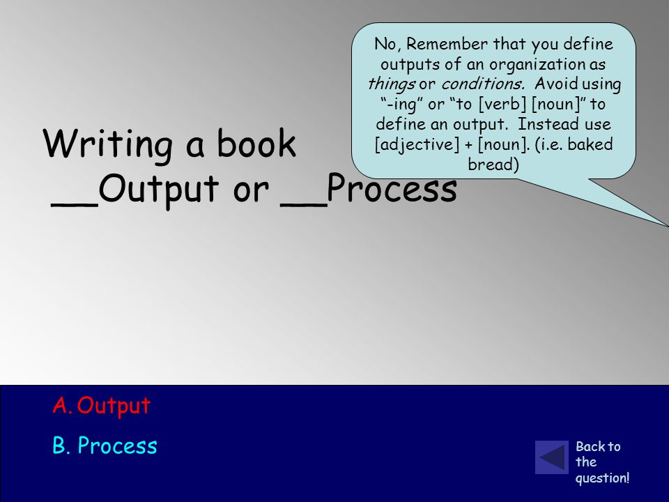 Writing a book __Output or __Process A.Output B. Process Back to the question.