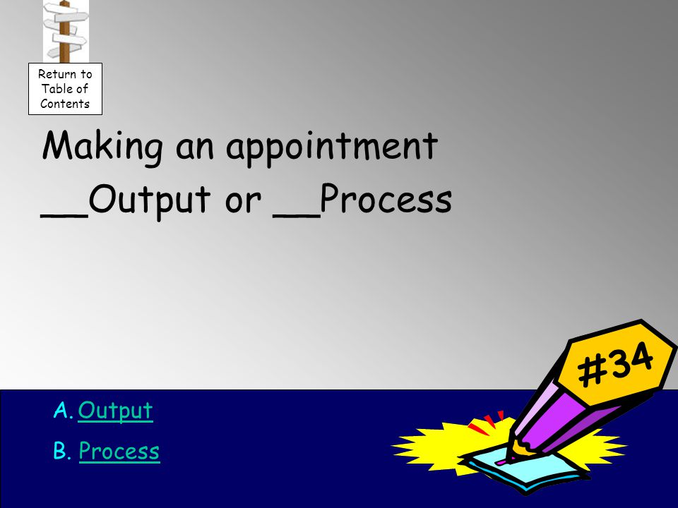 Making an appointment __Output or __Process A.OutputOutput B.
