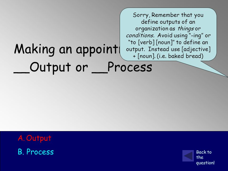 Making an appointment __Output or __Process A.Output B.