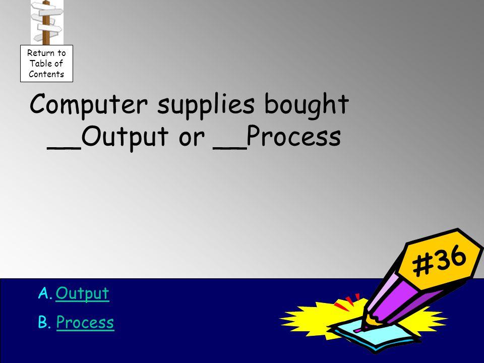 Computer supplies bought __Output or __Process A.OutputOutput B.