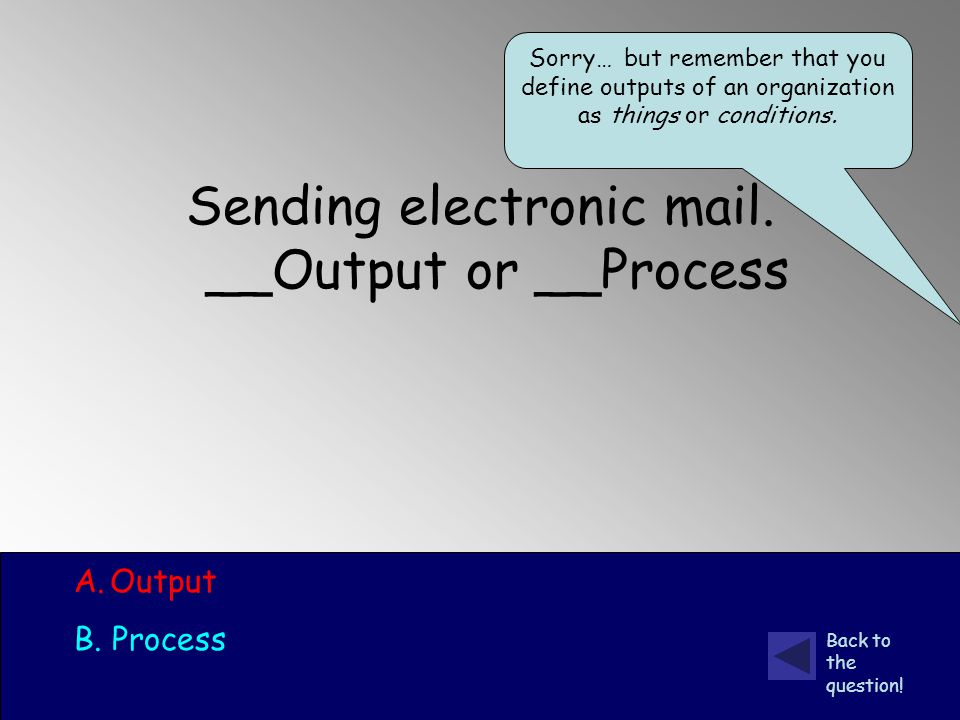 Sending electronic mail. __Output or __Process A.Output B.