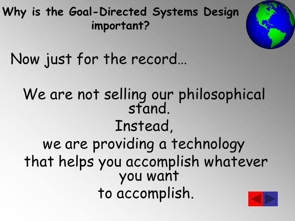 Now just for the record… We are not selling our philosophical stand.