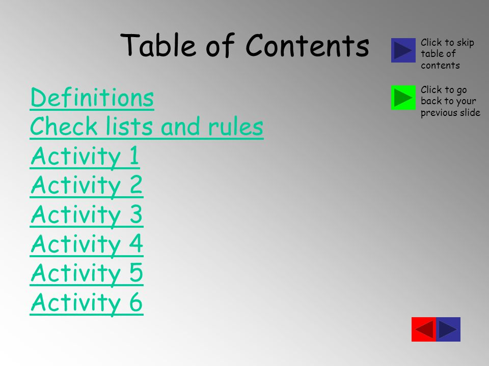 Table of Contents Definitions Check lists and rules Activity 1 Activity 2 Activity 3 Activity 4 Activity 5 Activity 6 Click to skip table of contents Click to go back to your previous slide