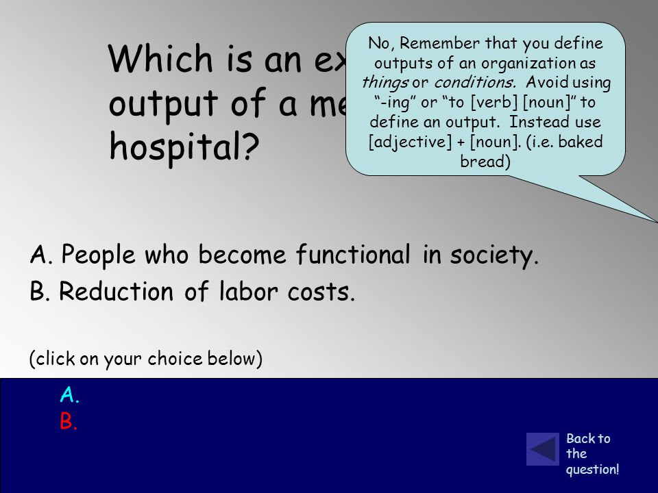 Which is an example of a final output of a mental health hospital.