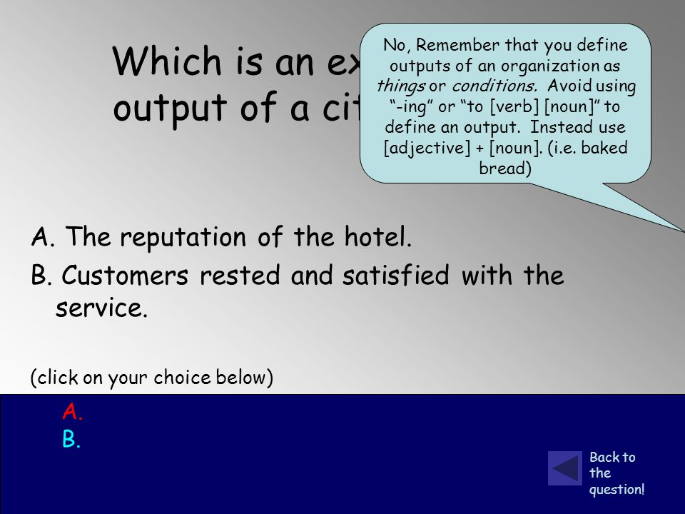 Which is an example of a final output of a city hotel.
