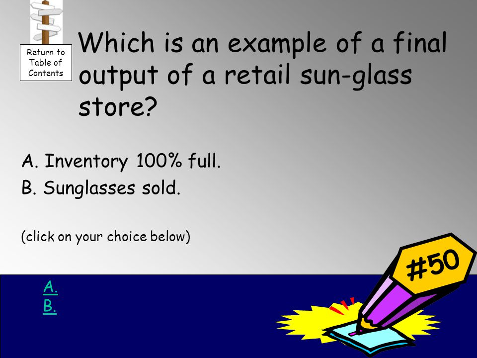 Which is an example of a final output of a retail sun-glass store.