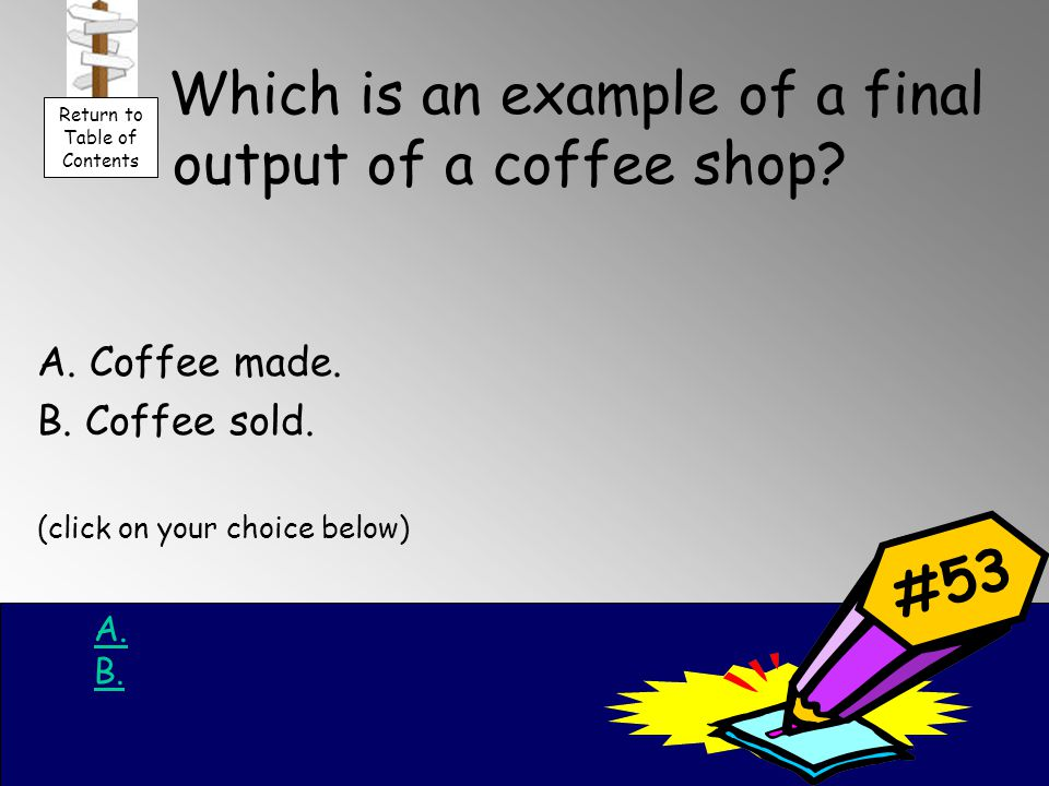 Which is an example of a final output of a coffee shop.