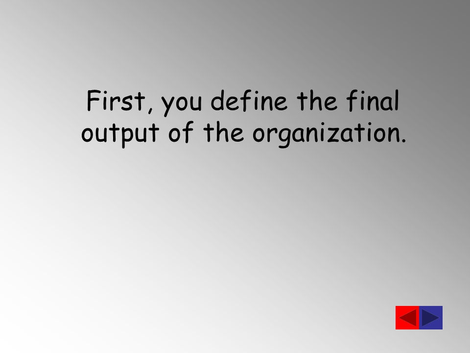 First, you define the final output of the organization.