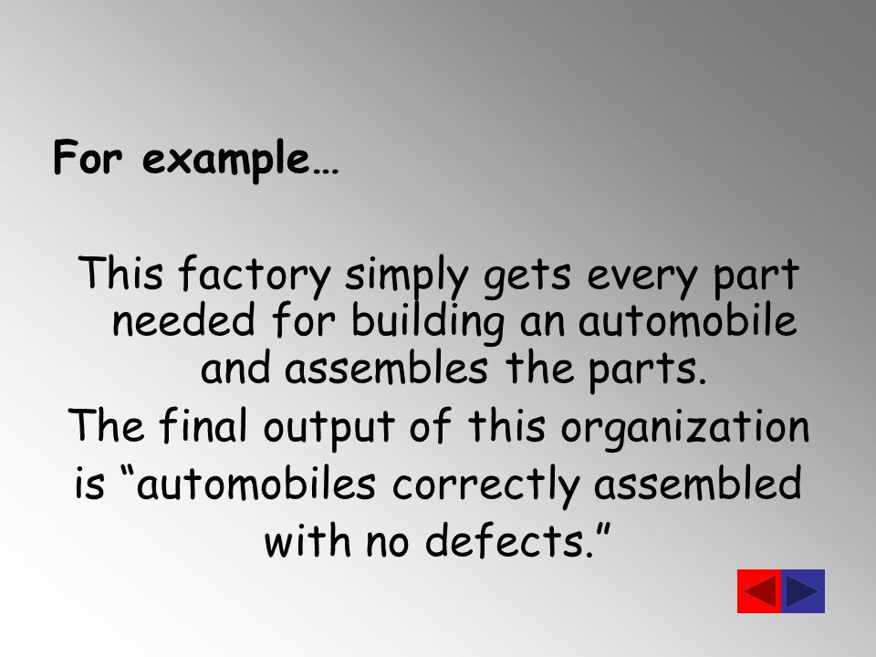 For example… This factory simply gets every part needed for building an automobile and assembles the parts.