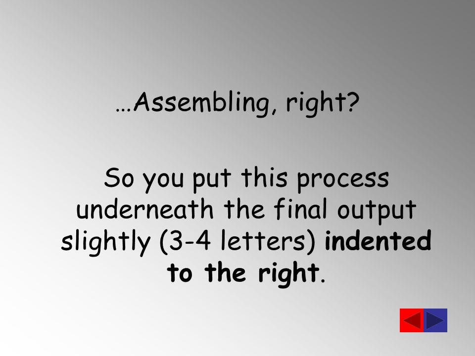 …Assembling, right.