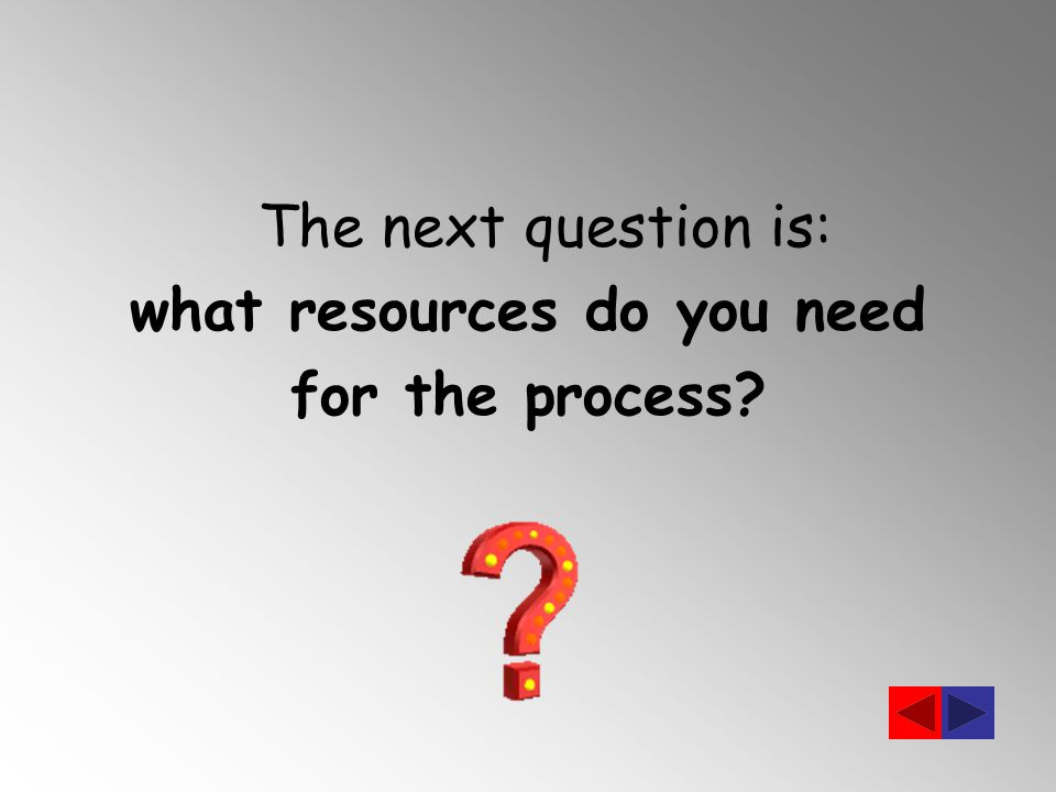 The next question is: what resources do you need for the process