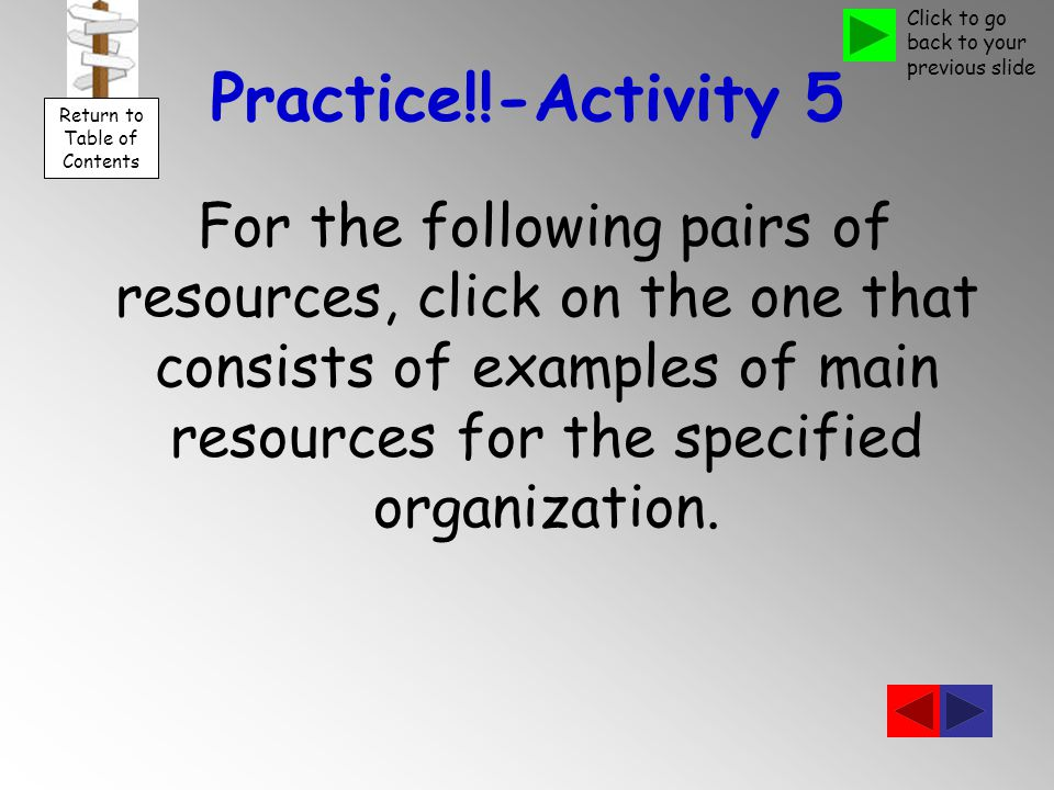 Practice!!-Activity 5 For the following pairs of resources, click on the one that consists of examples of main resources for the specified organization.