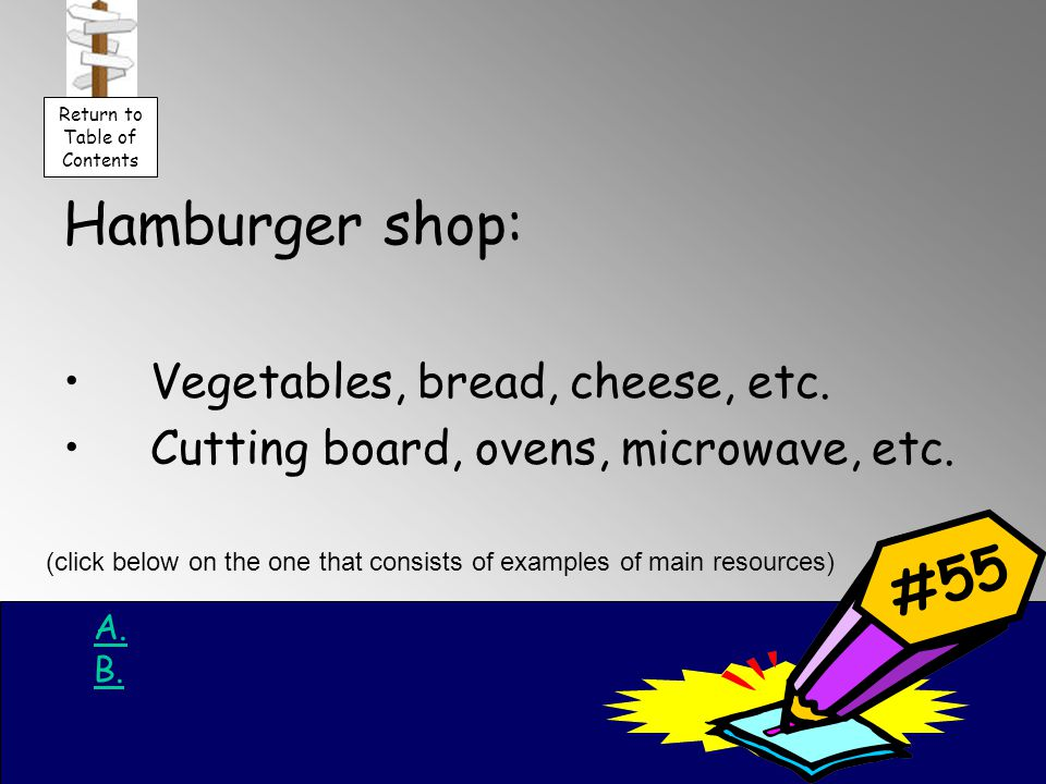 Hamburger shop: Vegetables, bread, cheese, etc. Cutting board, ovens, microwave, etc.