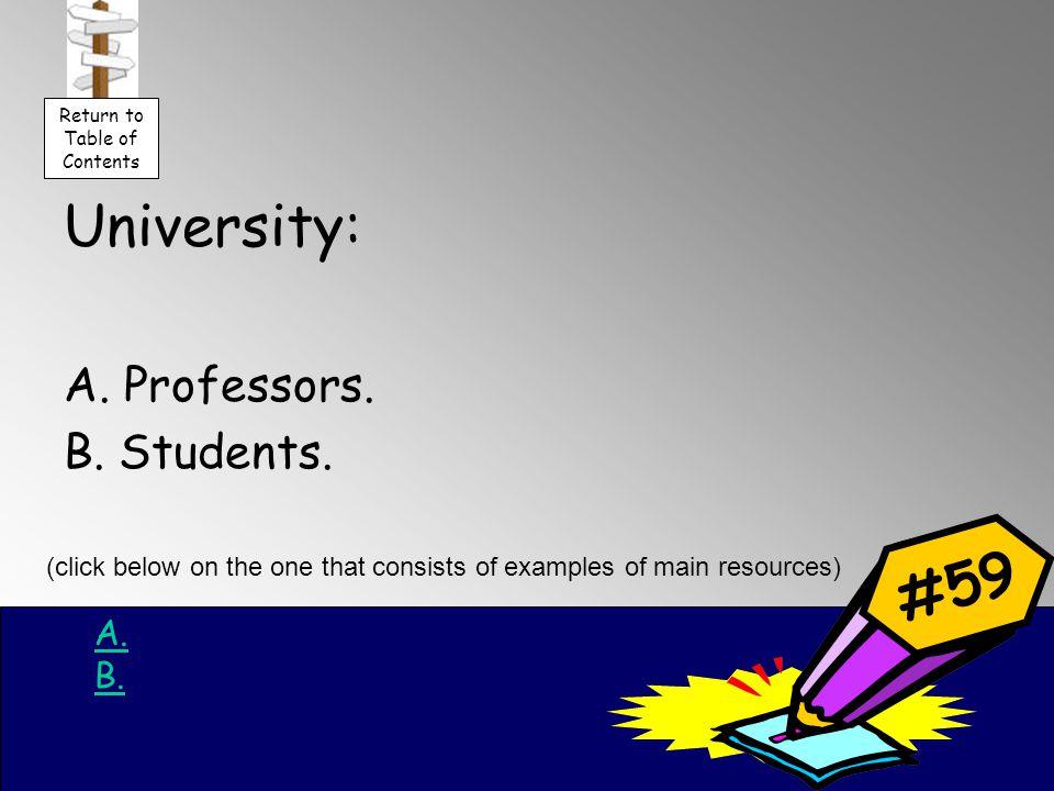 University: A. Professors. B. Students. A.A. B.B.