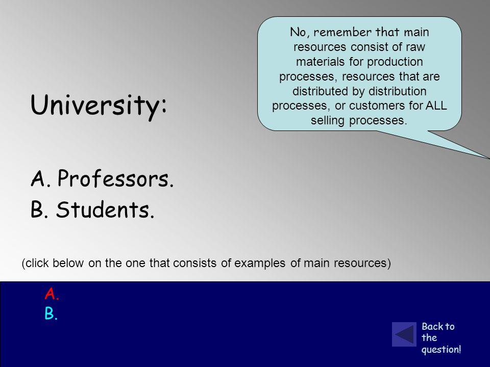 University: A. Professors. B. Students. A. B.