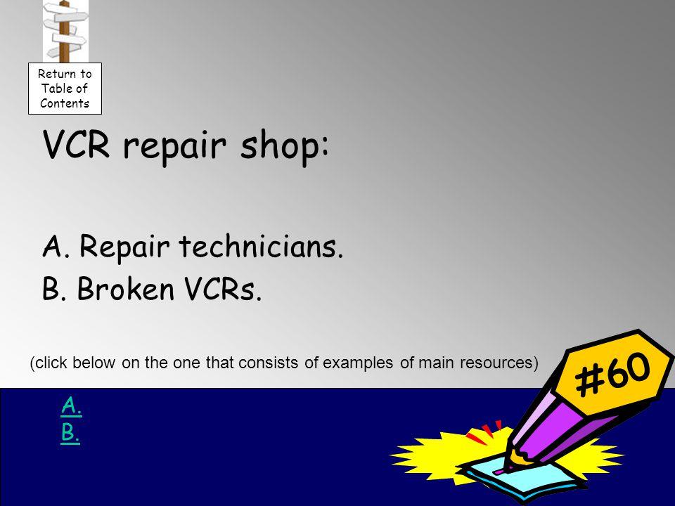 VCR repair shop: A. Repair technicians. B. Broken VCRs.