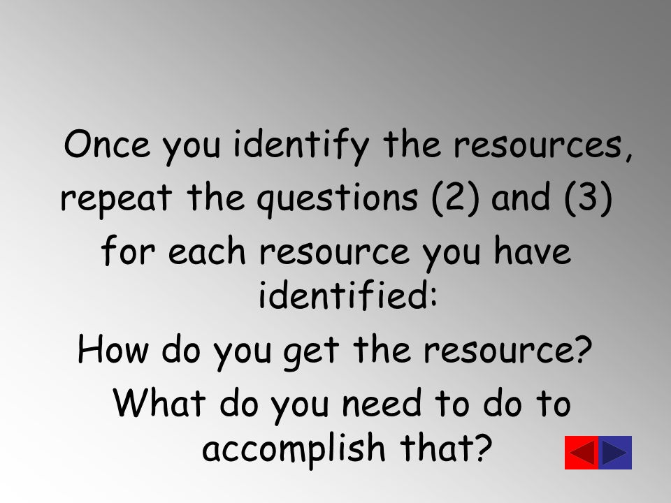 Once you identify the resources, repeat the questions (2) and (3) for each resource you have identified: How do you get the resource.