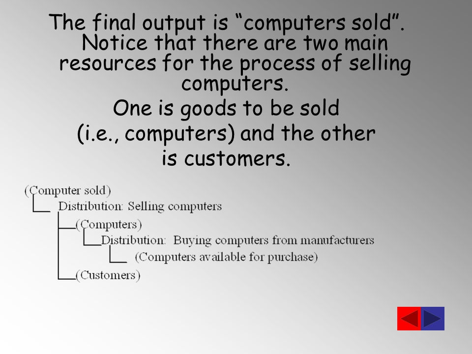 The final output is computers sold .