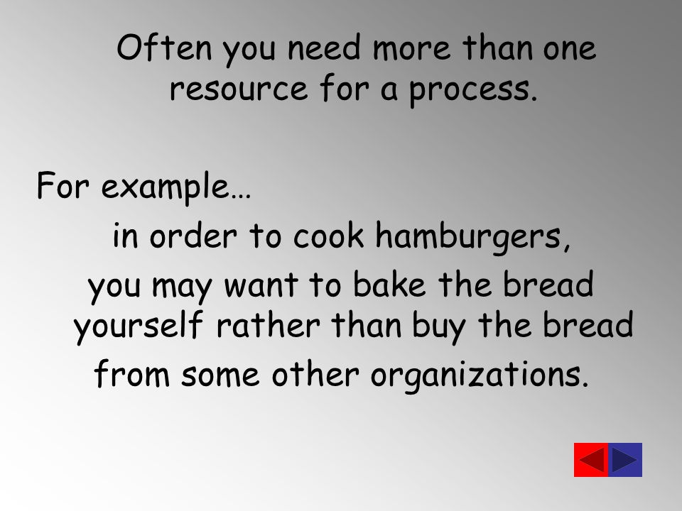 Often you need more than one resource for a process.