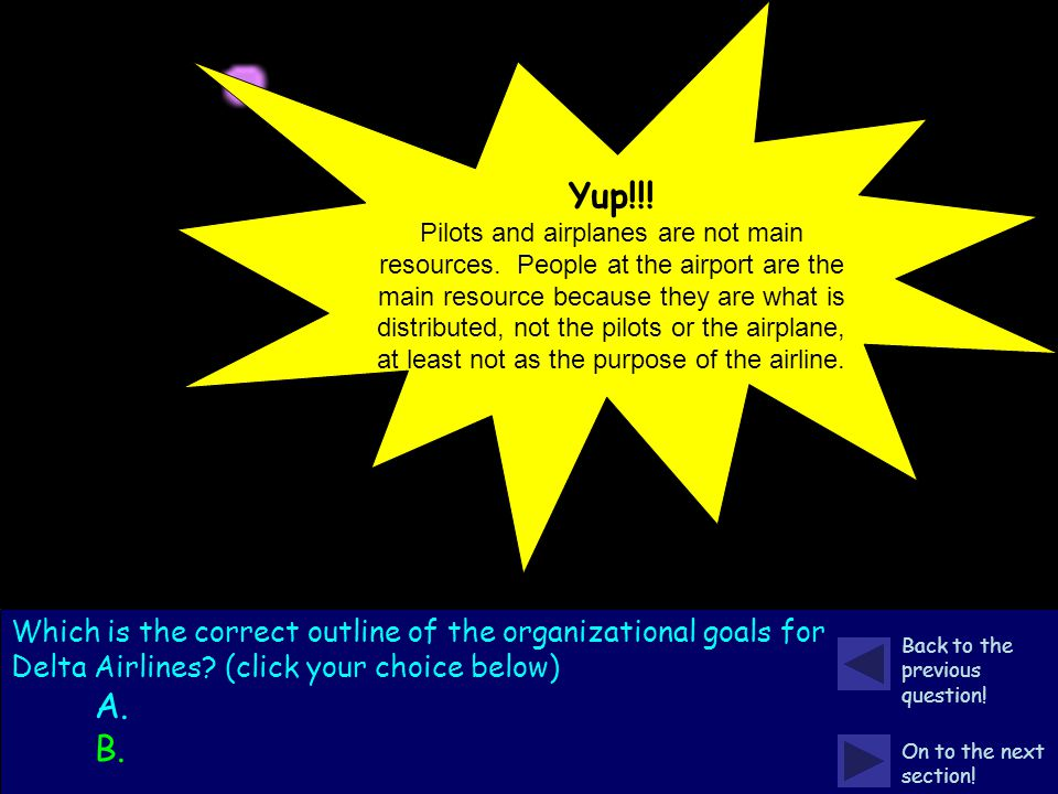 Pay close attention to the example and the following two outlines. Which is the correct outline of the organizational goals for Delta Airlines? (click