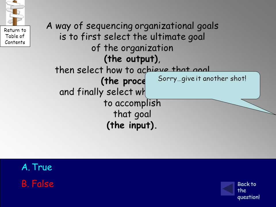 A way of sequencing organizational goals is to first select the ultimate goal of the organization (the output), then select how to achieve that goal (the process), and finally select what is required to accomplish that goal (the input).