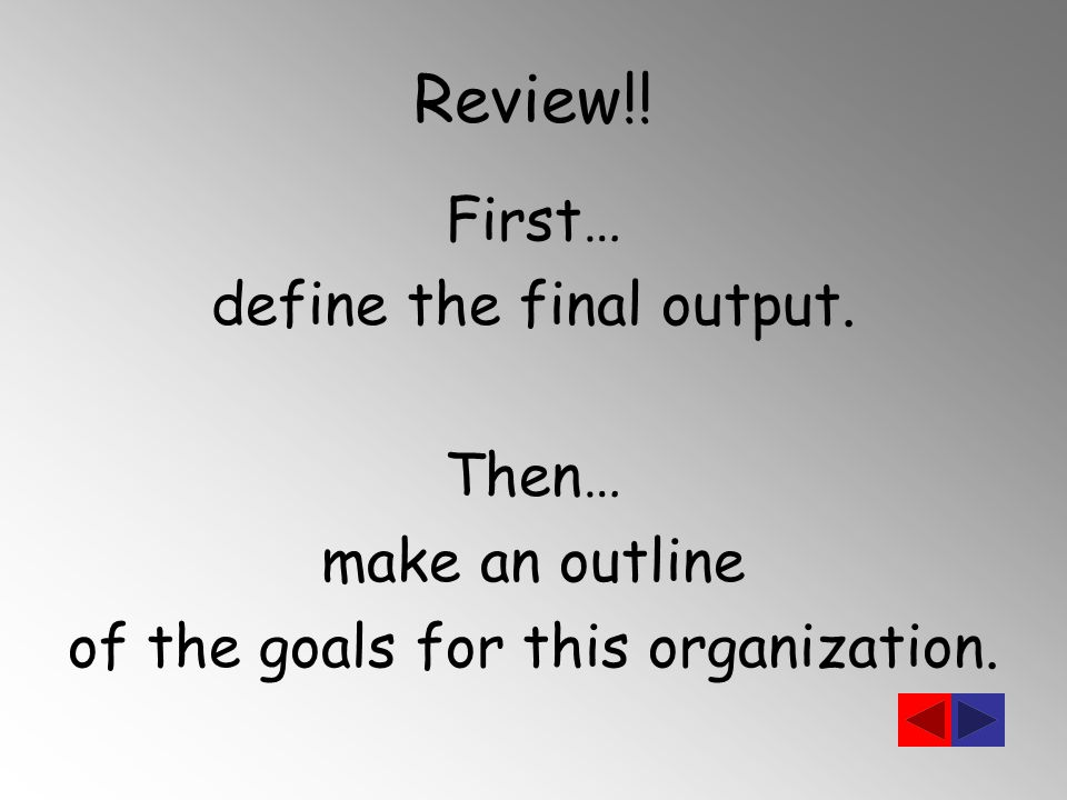 Review!! First… define the final output. Then… make an outline of the goals for this organization.