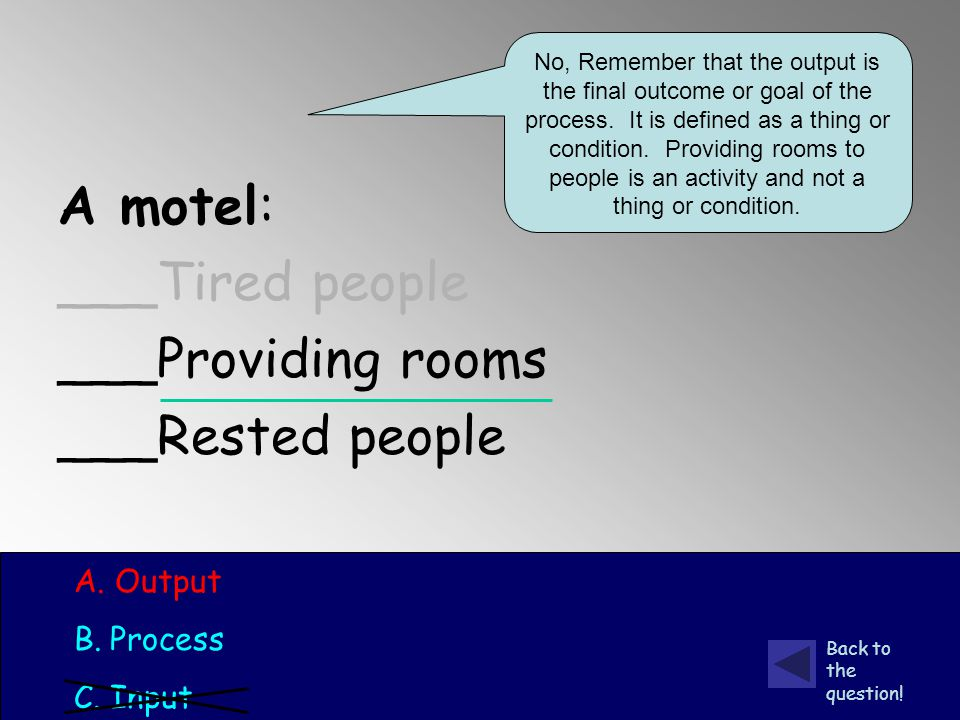 A motel: ___Tired people ___Providing rooms ___Rested people A.