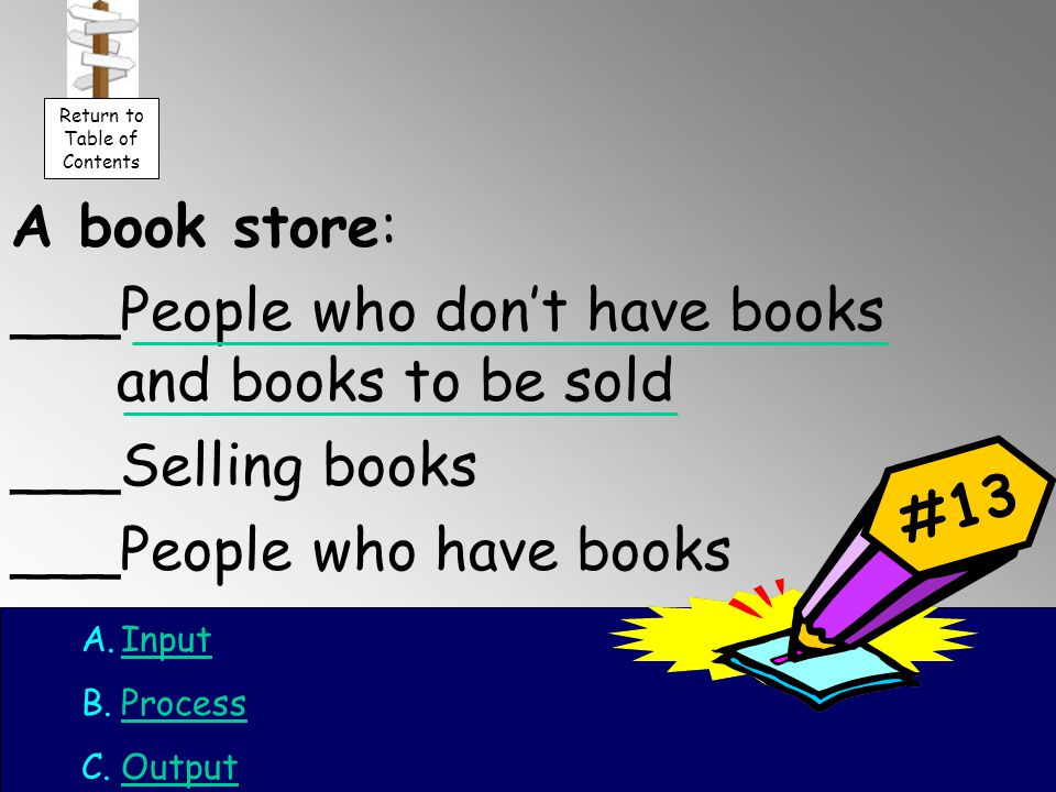 A book store: ___People who don't have books and books to be sold ___Selling books ___People who have books #13 A.InputInput B.ProcessProcess C.OutputOutput Return to Table of Contents
