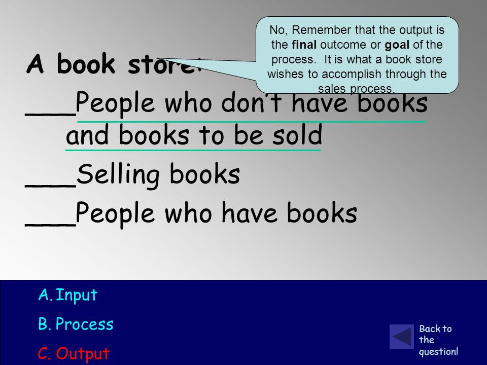 A book store: ___People who don't have books and books to be sold ___Selling books ___People who have books A.Input B.Process C.Output No, Remember that the output is the final outcome or goal of the process.
